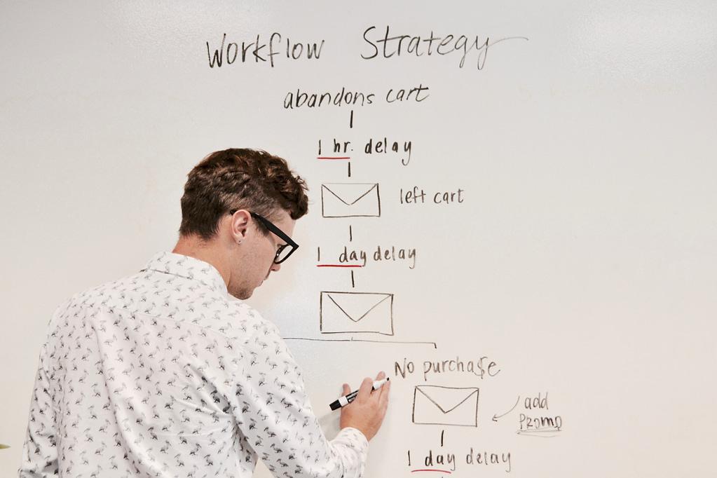 professor teaching, writing on a whiteboard