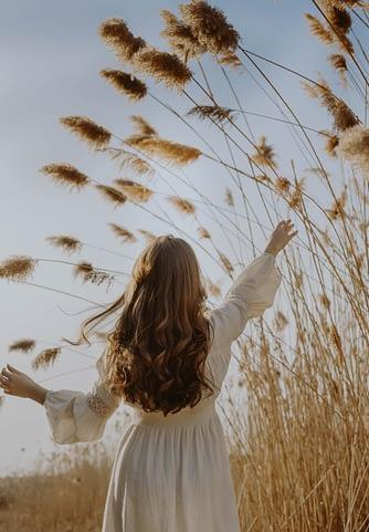 girl enjoying in the fields